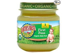 Earth's Best Organic Stage 1 Baby Food, Peas